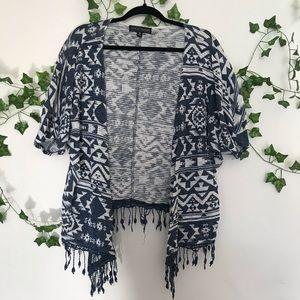 Blue and White Tribal Kimono